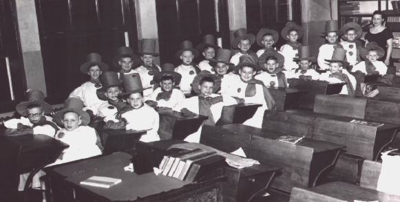 Mrs. Armour's Third Grade Class - Snowmen - March 1956